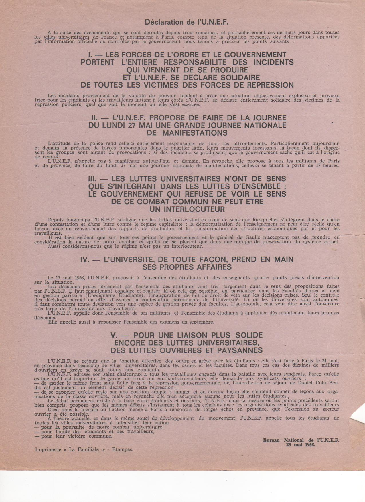 tract BN UNEF 25 mai 1968